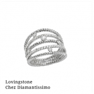 Lovingstone chez Diamantissimo Bague Diamini 5 rangs Or Blanc Diamants